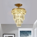 Three-Tiered Crystal Prisms Semi Mount Lighting Contemporary LED Clear Ceiling Light Fixture in Warm Light