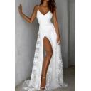 White Graceful Womens Sheer Mesh Patchwork Lace High Slit Side Open Back V Neck Spaghetti Straps Sleeveless Floor Length Fit&Flare Slip Gown