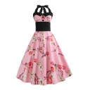 Pretty Ladies Back Pleat Contrast Stitching Button Straps Halter Sleeveless Waist Midi Swing Dress in Pink