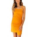 Boutique Womens Solid Color Square Neck Oblique Button Asymmetric Hem Short Tight Tank Dress