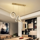 Beveled Crystal Geometric Suspension Light Contemporary LED Stainless-Steel Multi Pendant with Round/Linear Canopy