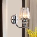 Cone/Drum Shade Wall Light Sconce Contemporary Crystal Block 1 Light Indoor Wall Lamp in Chrome