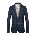 Men's Slim-Fit Notch Lapel Single Button Long Sleeves Plaid Suit Jacket
