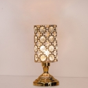 Bedside LED Nightstand Lamp Contemporary Gold Table Light with Trophy-Shape/Cylinder Faceted Crystal shade