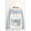 Popular Girls Letter Give Me Five Cartoon Cat Printed Flap Pocket Colorblock Button Detail Long Sleeve Drawstring Relaxed Graphic Hoodie