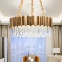 Drum Hanging Chandelier Contemporary Crystal Block 10/15 Heads Gold Down Lighting, 21.5