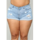 Summer Hot Stylish Blue Plus Size Distressed Turn Up Denim Shorts