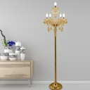 Curved Arm Living Room Floor Lamp Country Crystal 5/6-Light Gold Standing Floor Light with/without Shade