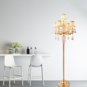 5 Lights Floor Standing Lamp Classic Living Room Floor Light with Scalloped Fabric Shade with Clear Crystal Draping