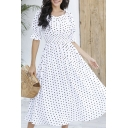 Adorable Polka Dot Printed Short Sleeve Sweetheart Neck Gather Waist Mid A-line Dress in White