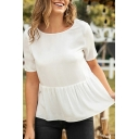 Leisure Womens Lace-trimmed Short Sleeve Round Neck Open Back Ruffled Loose Blouse Top in White
