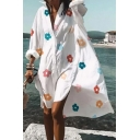 Leisure Pattern Printed Slit Side Button Down V Neck Long Sleeve Midi Plus Sized Shirt Dress for Womens
