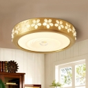 Brass Rounded Ceiling Fixture Countryside Living Room LED Flush Mount Lighting in Brass