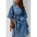 Casual Chic Girls Plain Three-Quarter Sleeve Lapel Neck Button Down Bow Tied Waist Asymmetric Short A-Line Shirt Dress
