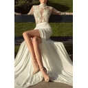 Boutique Ladies Applique Sheer Mesh Long Sleeve Mock Neck High Cut Maxi Flowy Gown in White