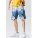 Chic Jean Shorts Ombre Pattern Ripped Pocket Zipper Mid Rise Regular Fitted Jean Shorts for Men
