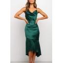 Elegant Ladies Spaghetti Straps Cowl Neck Ruffled Mid Fishtail Slip Dress in Green