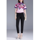 Chinese Style Butterfly Flower Pattern Contrasted Short Sleeve Turn down Collar Button up Relaxed Fit Shirt Top in Pink