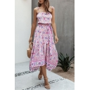 Fashion Girls High Low Ditsy Floral Printed Bow Tie Pleated Strap Sleeveless Midi Sun Dress