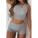 Trendy Womens Solid Color Knitted Sleeveless Crew Neck Slim Fit Crop Tank Top & Skinny Shorts Set