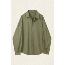 Leisure Solid Color Long Sleeve Spread Collar Button-up Oversize Shirt Top for Girls