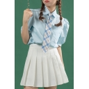 Formal Blue Puff Sleeve Point Collar Button-up Chest Pocket Loose Shirt with Plaid Tie