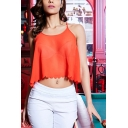 Party Girls Solid Color Spaghetti Straps Scalloped Relaxed Fit Crop Cami Top