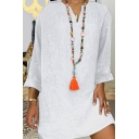 Ethnic Womens Solid Color Linen and Cotton Rolled Long Sleeve V-neck Short Relaxed Fit Dress