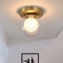 1-Bulb Ceiling Mounted Fixture Colonial Style Double Global Shade Clear and Opal Glass Flushmount in Brass