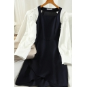 Womens Creative Color Block Slit Asymmetric Hem Patchwork Pleated Long Puff Sleeve Square Neck Short A-Line Black Dress