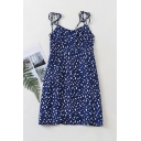 Trendy Womens Ditsy Floral Printing Pleated Knotted Spaghetti Strap Sleeveless Backless Mini Cami Dress