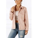 Simple Solid Color Long Sleeve Spread Collar Press Button Flap Pockets Regular Fit Work Jacket for Women