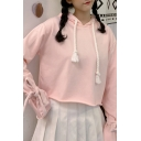 Novelty Solid Color Drawstring Bow Tie Long Sleeve Relaxed Cropped Hoodie