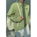 Casual Butterfly Embroidered Kangaroo Pocket Button Front Turn-down Collar Long Sleeve Relaxed Pullover Sweatshirt