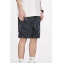 Mens Relax Shorts Stylish Camouflage Roll-up Knee-Length Zipper Fly Regular Fitted Relax Shorts