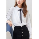 Trendy Womens Contrast Piping Bow Tie Front Button Back Stand Collar Long Sleeve Loose Fit Shirt