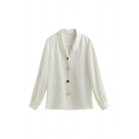 Vintage Womens Solid Color Single Breasted Turn-down Collar Long Sleeve Regular Fit Shirt