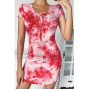 Pretty Womens Red Tie Dye Printed Short Sleeve Lace Up V-neck Mini Sheath Dress