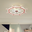 Metal Rudder Semi Flush Light Cartoon Pink/Blue LED Pendant Fan Lamp for Kids Bedroom, 23