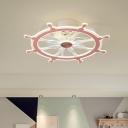 Metal Rudder Semi Flush Light Cartoon Pink/Blue LED Pendant Fan Lamp for Kids Bedroom, 23