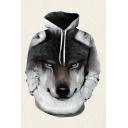 Mens 3D Hooded Sweatshirt Fashionable Wolf Head Pattern Cuffed Drawstring Long Sleeve Regular Fit Hooded Sweatshirt