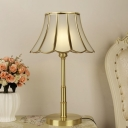 Bell Opaline Glass Table Lamp Colonial LED Bedroom Reading Book Light in Brass with Round Base