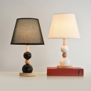 Stacked Balls Wood Table Lamp Nordic 1-Head Black/White Nightstand Light with Conic Fabric Shade