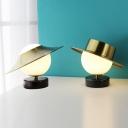 Milk Glass Spherical Night Lamp Modernist 1 Light Brass Task Lighting with Hat/Gong-Like Metal Shade