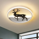Circle Acrylic Flush Mount Light Nordic LED Black Ceiling Lamp with Deer Design in Warm/White Light