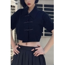 Summer New Stylish Retro Chinese Style Frog Button Front Stand Collar Short Sleeve Black Crop Top