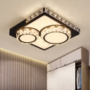 LED Flush Ceiling Light Contemporary Round/Square Crystal Encrusted Flushmount in White