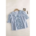 Fancy Solid Color Crochet Embroidery Cut Out Ruffle Cuff Patchwork Button Down V Neck Short Puff Sleeve Regular Fit Tee Shirt