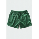 Cozy Relax Shorts Solid Color Drawstring Pocket Regular Fitted Mid Rise Relax Shorts for Men