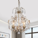 Drip Sitting Room Hanging Lamp Clear Crystal 3 Lights Contemporary Pendant Chandelier in Gold